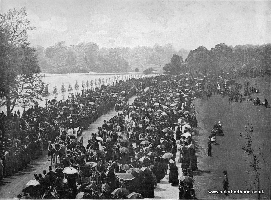 A meeting of The Coaching Club on the Ladies Mile, Hyde Park London circa 1896
