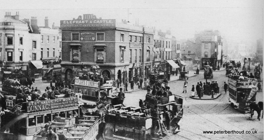 Horse-drawn trams at Elephant & Castle, circa 1880
