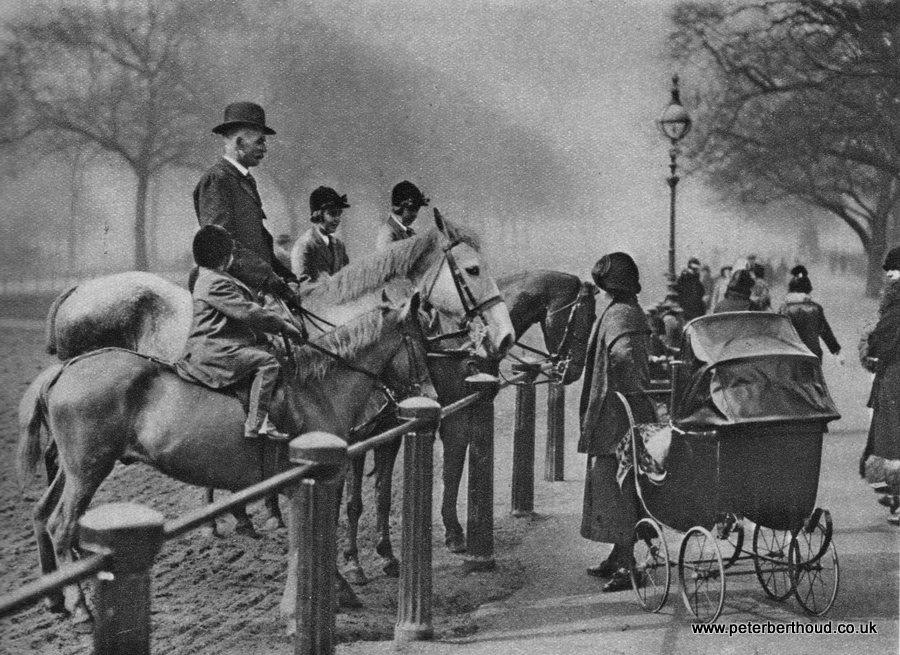 London horses being admired on Rotten Row, Hyde Park 1920s